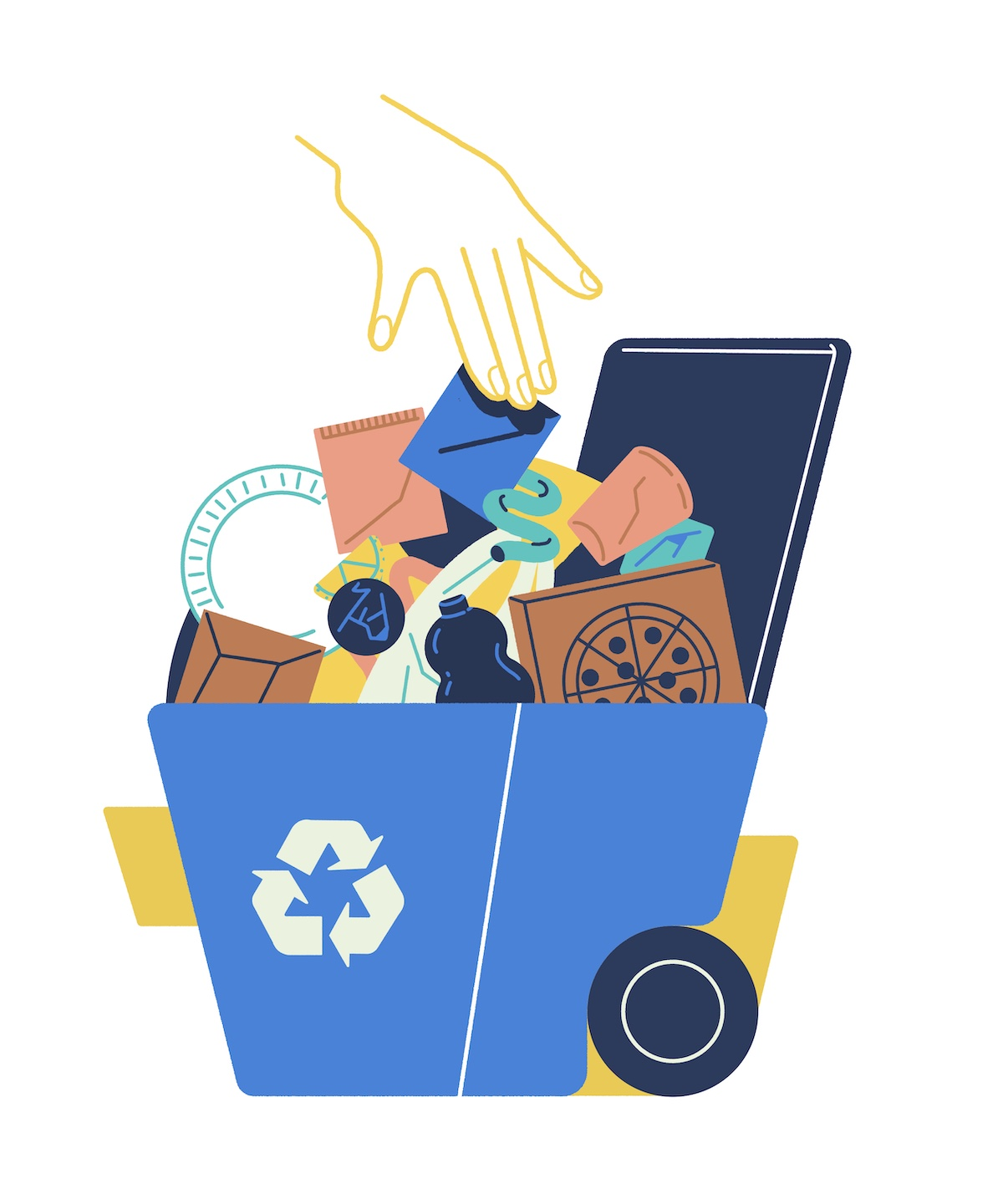 An illustration of all sorts of trash going into a recycling bin.