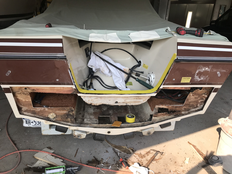 Transom prior to repairs.