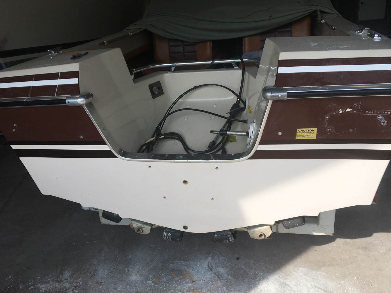 Transom after repairs.