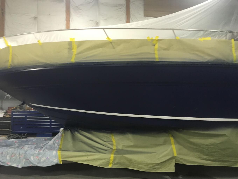 Rinker boat during renovation process