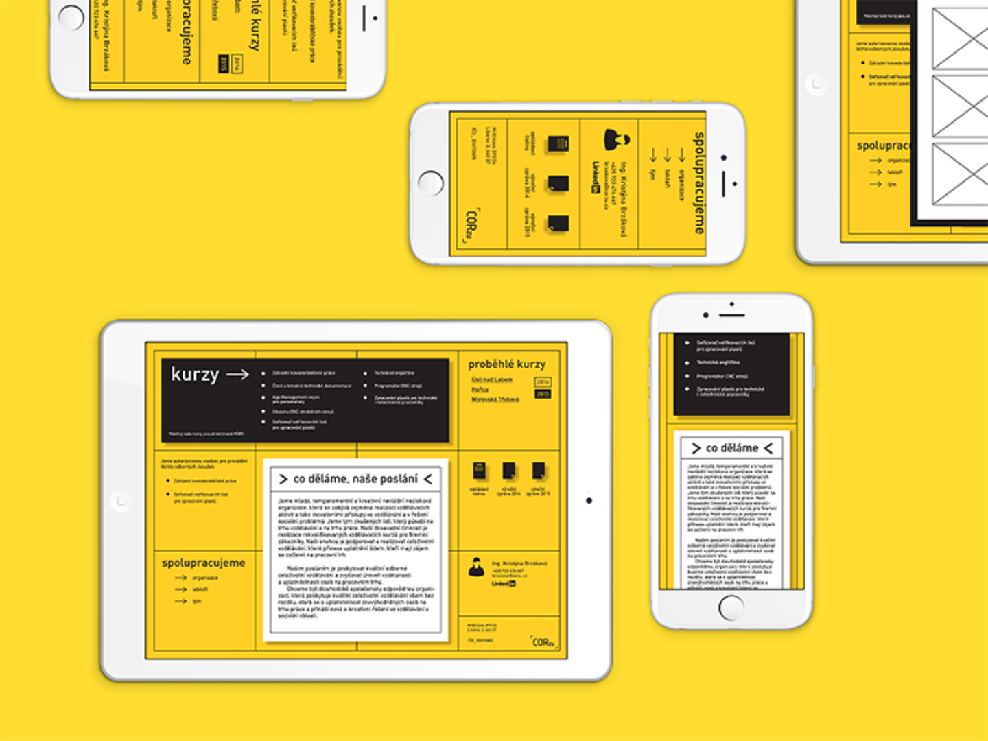 Sigle page website in yellow design.