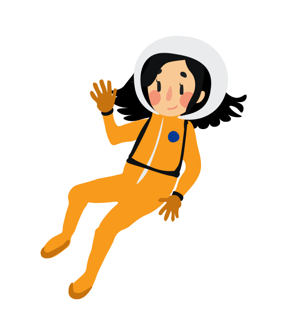 Angel dressed in an orange astronaut suit