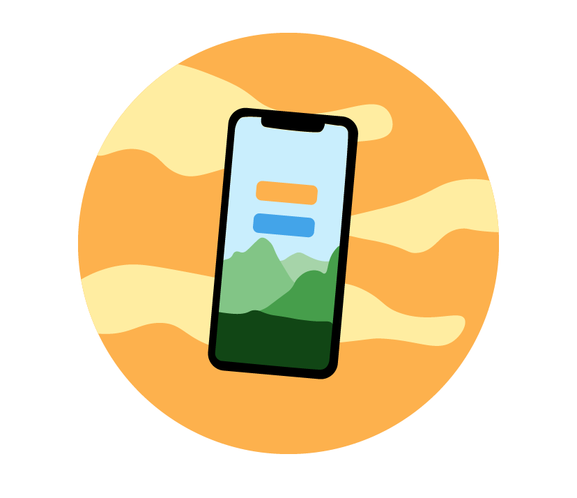 a mock of a mobile app against an orange planet