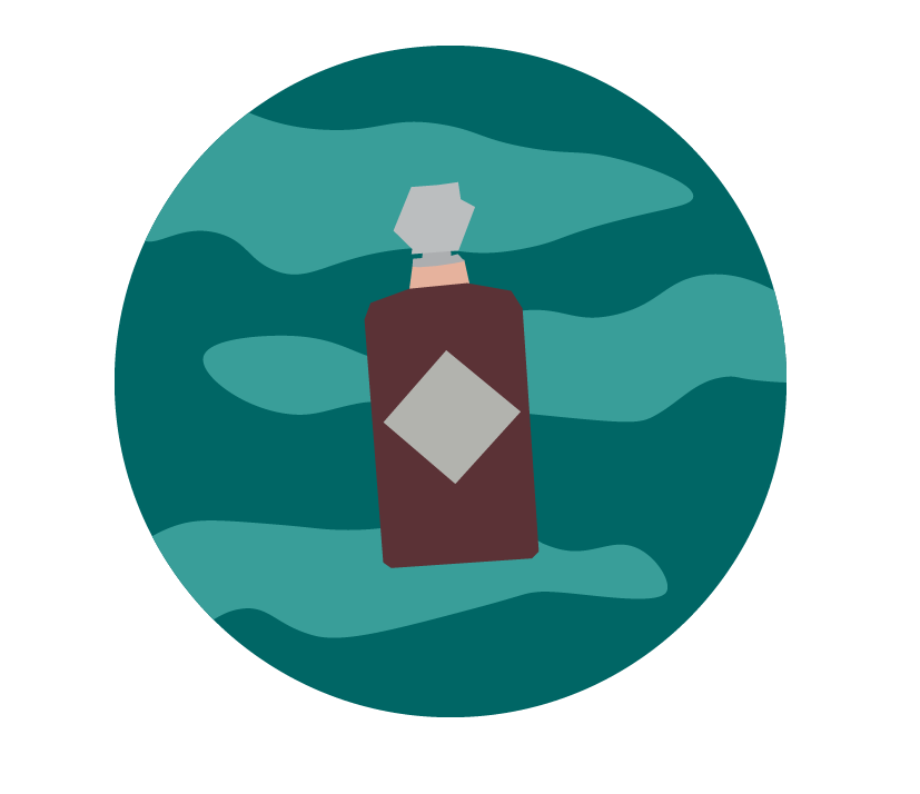 a cognac liquor bottle against a blue planet