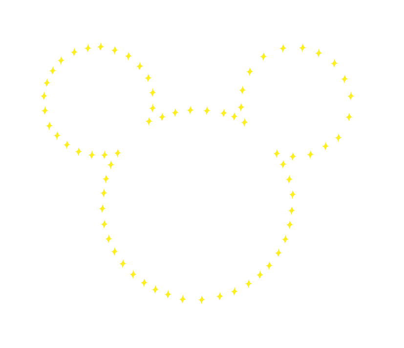 the shape of Mickey Mouse's head outlined in stars