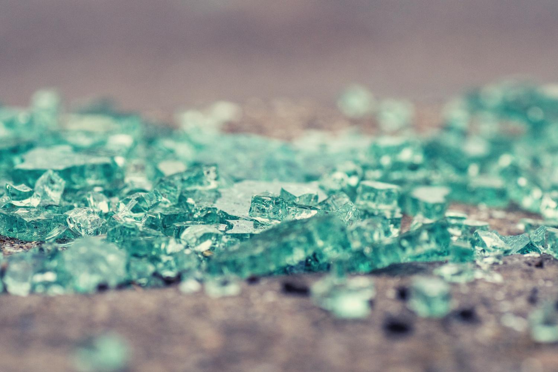 Broken glass on the ground