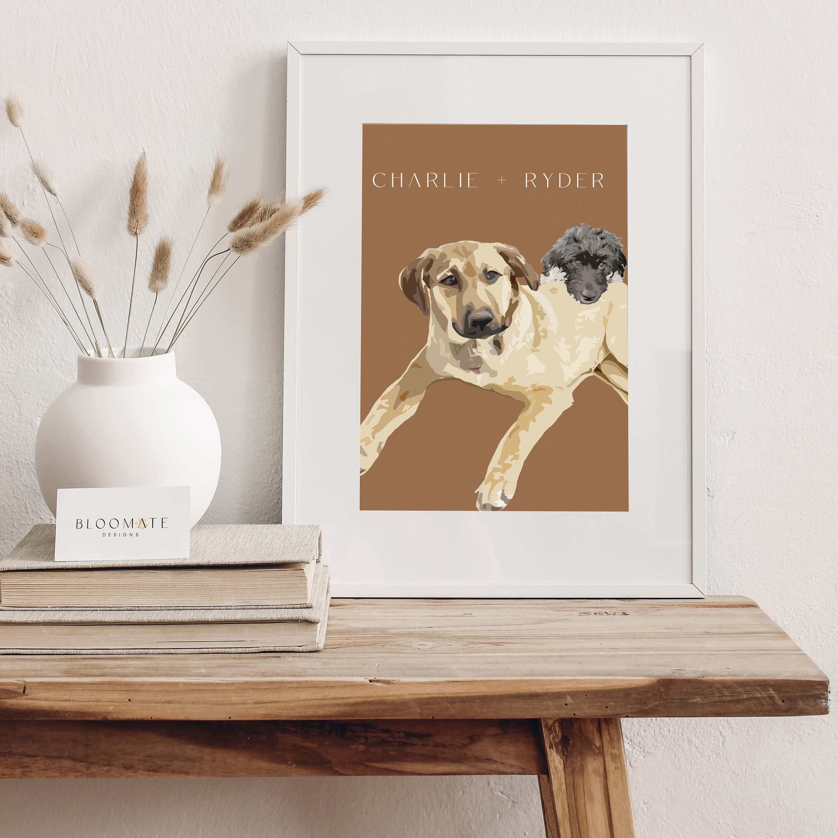 Charlie and Ryder Graphic Illustration Bloomate Pet Portraits