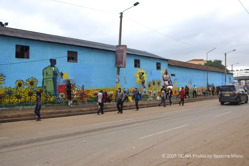 Muthurwa Roundabout wall with mural painted