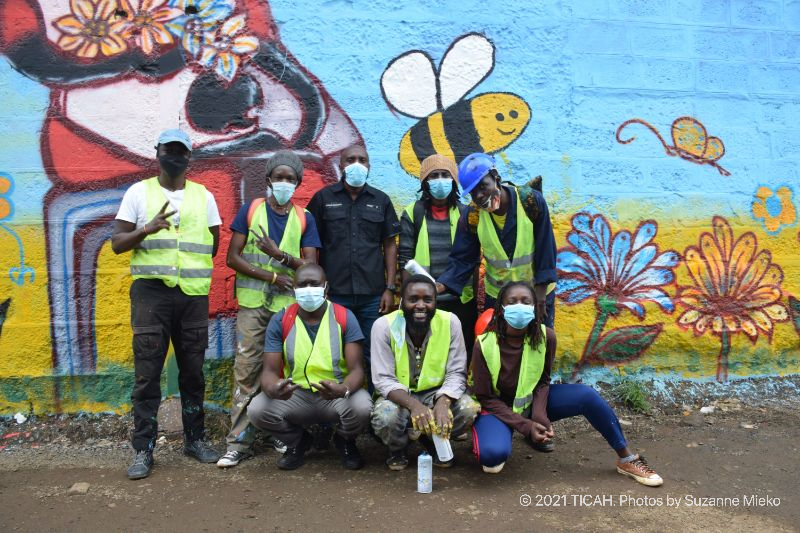 The team of 7 artists posing at Muthurwa roundabout