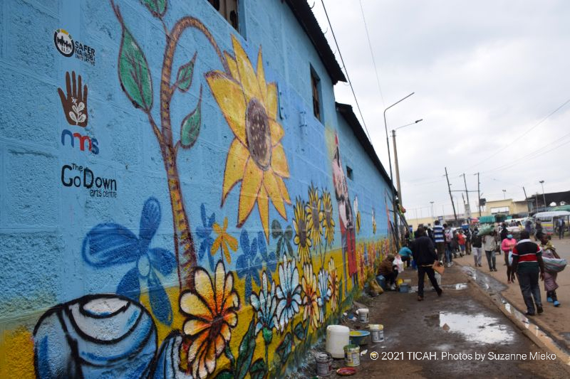 Side view of the mural at Muthurwa roundabout