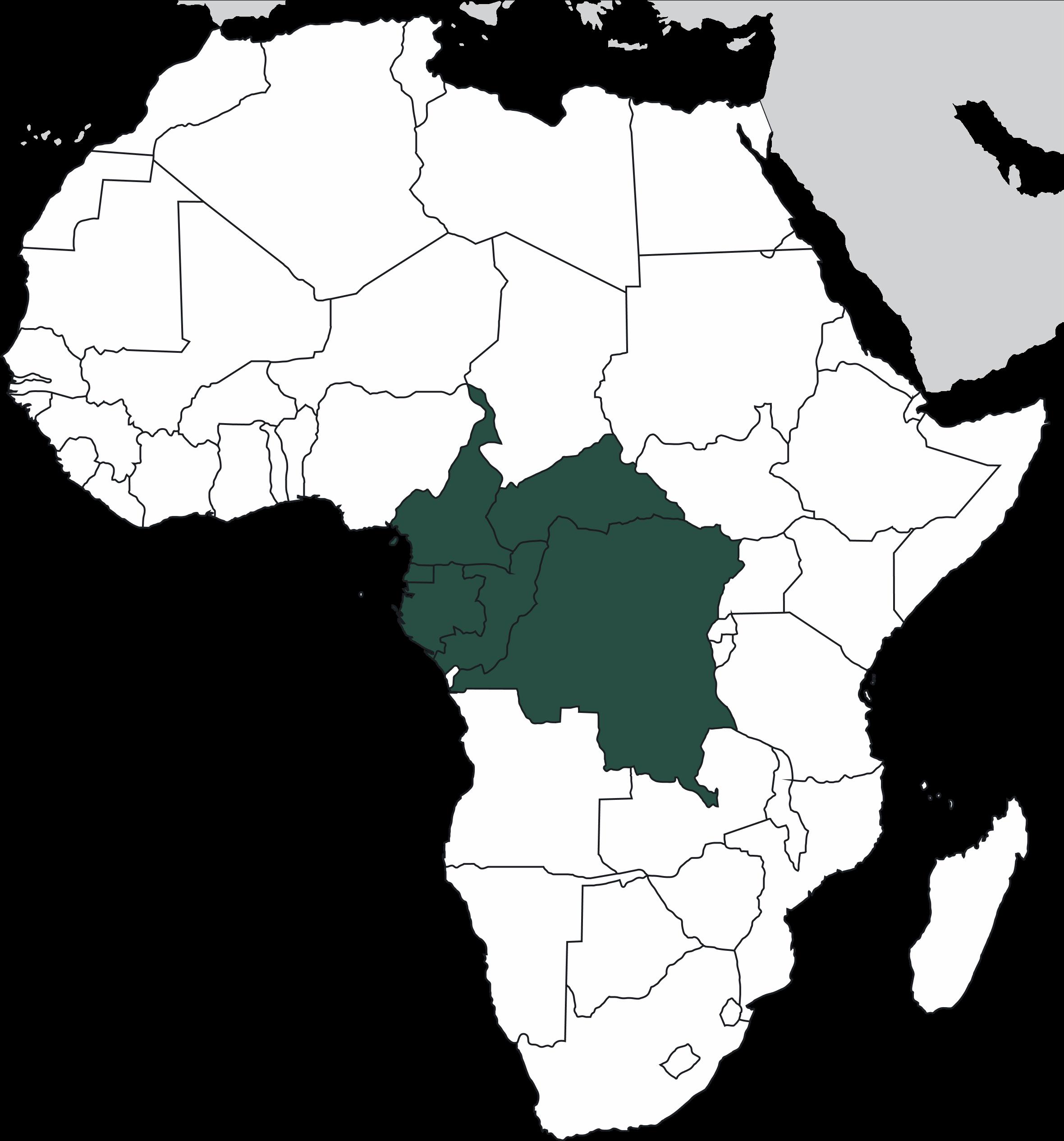 Map of Africa's Congo Basin Rainforest.