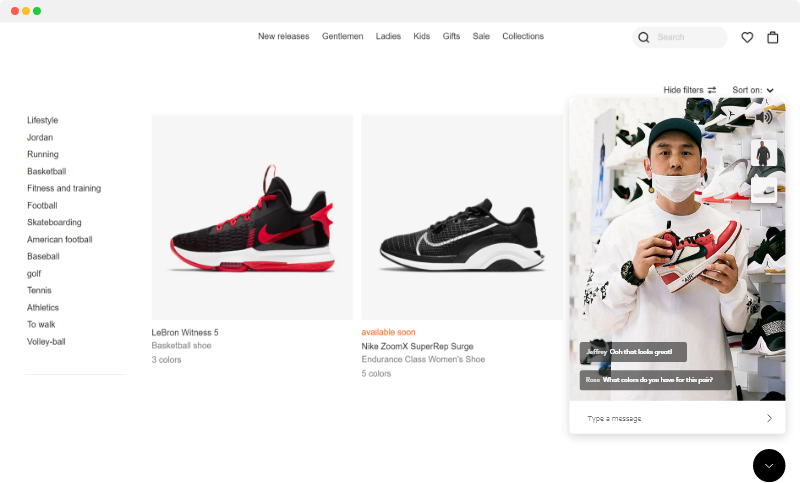 Image of a person using Emcee live stream shopping to showcase sneakers.