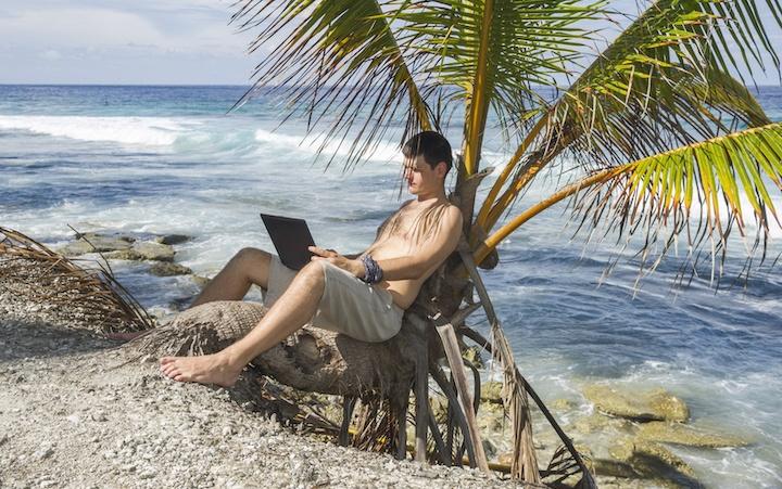 Digital nomad sitting on palm tree