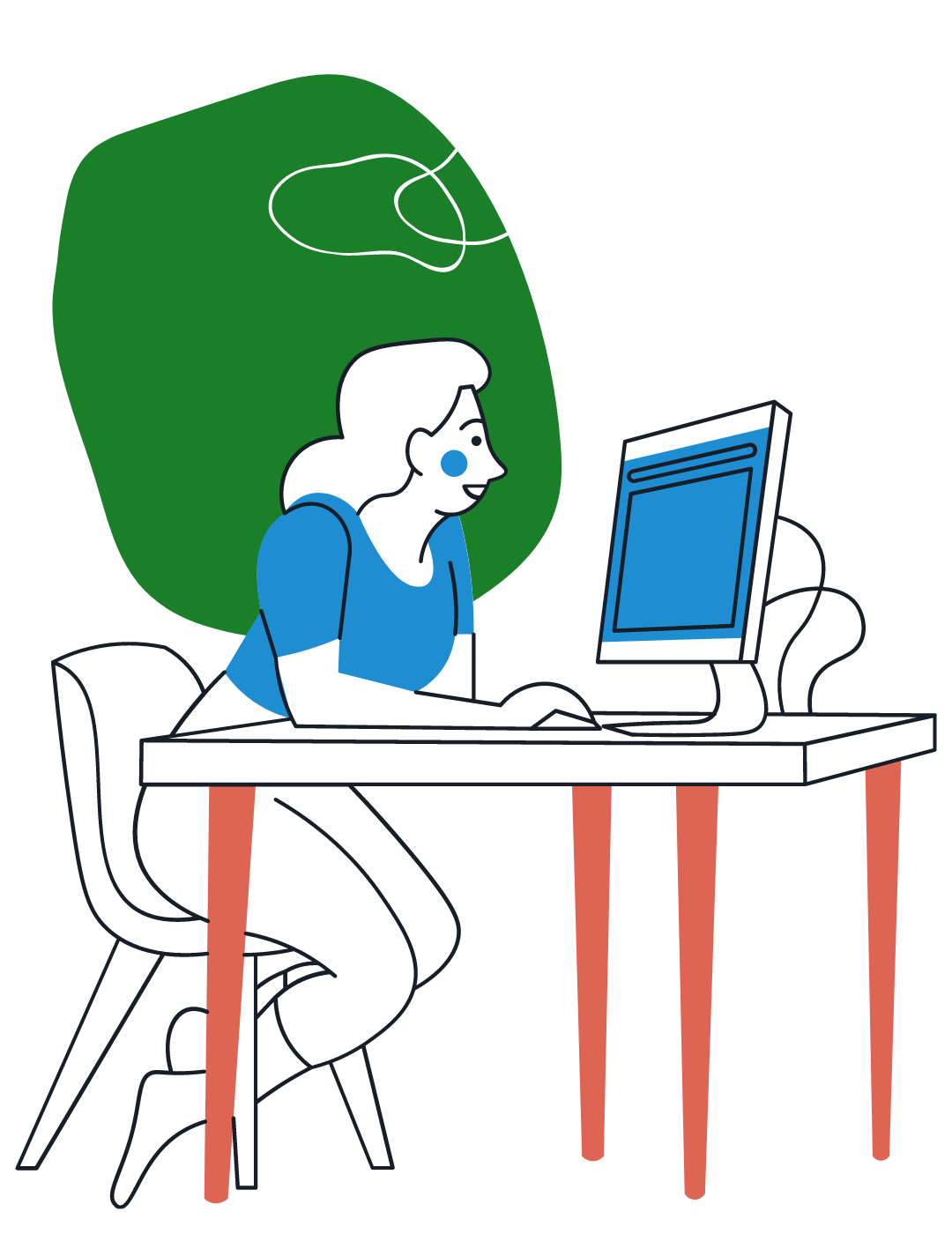Woman sitting at desk reading