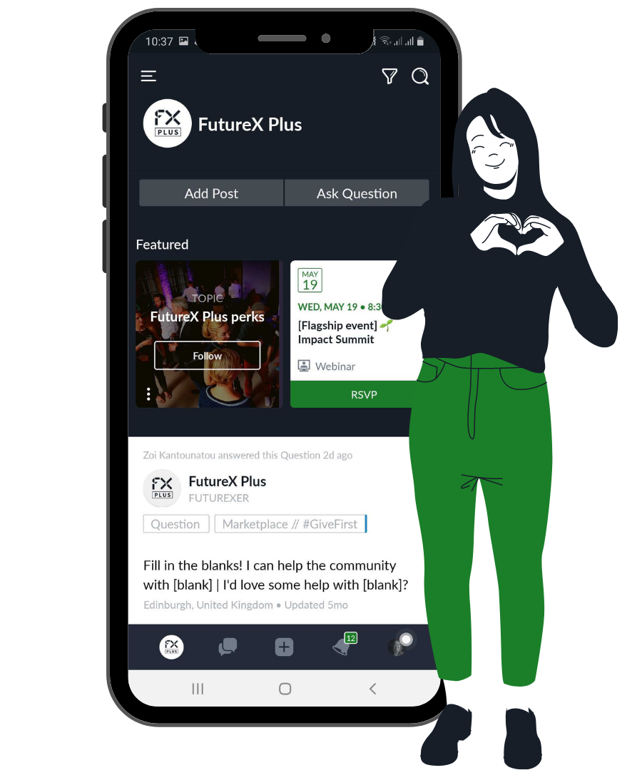 Woman with her hands in a heart shape - standing next to a mobile app of the FutureX community