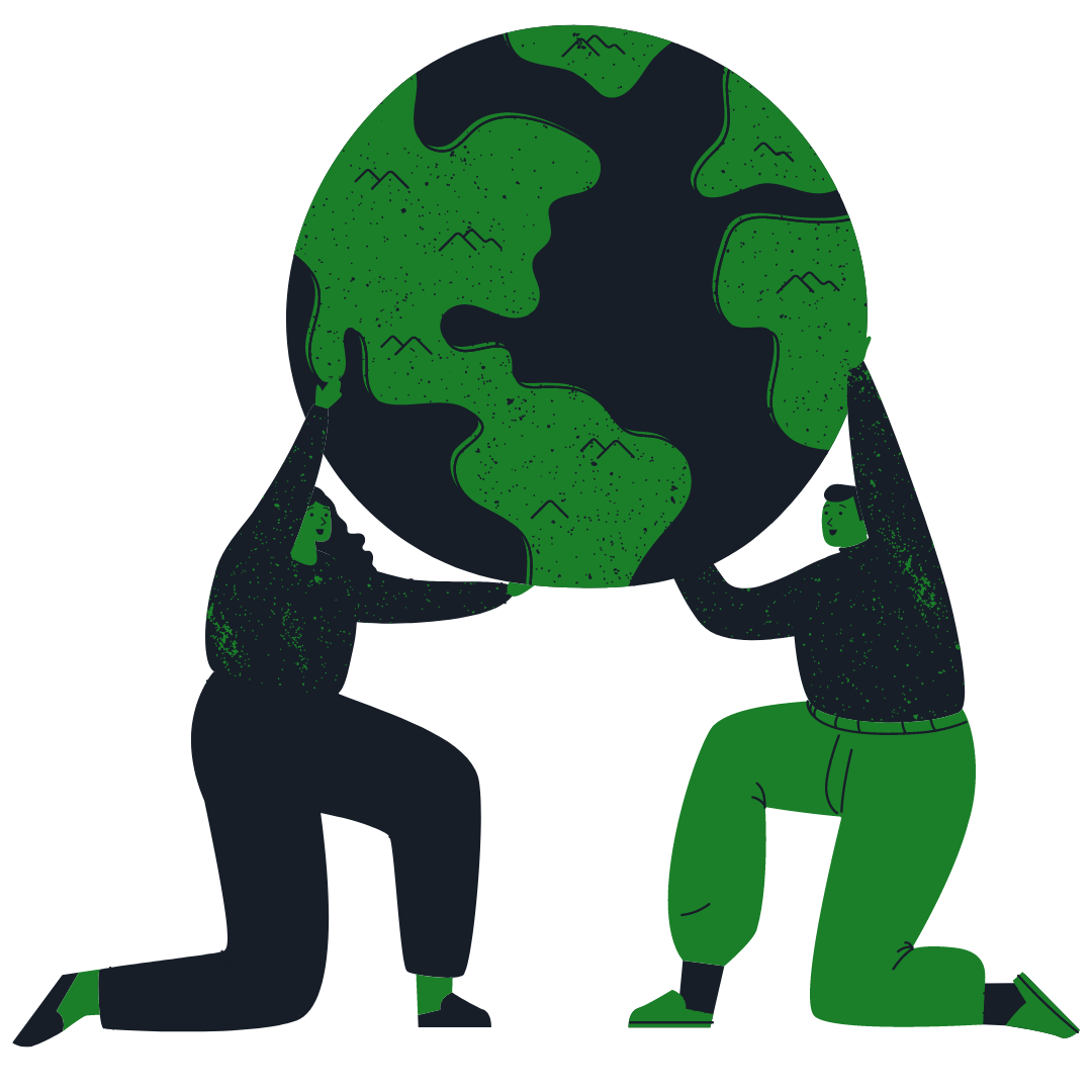 a man and a woman holding up the earth