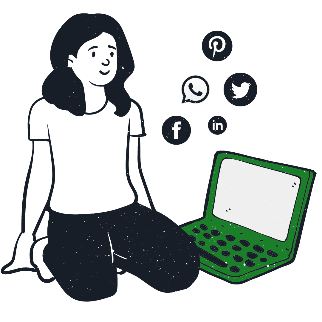 Girl sitting with a laptop with social media icons dotted around her