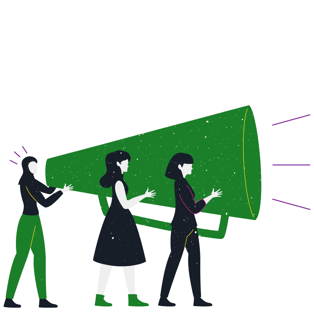 3 diverse girls holding a large megaphone