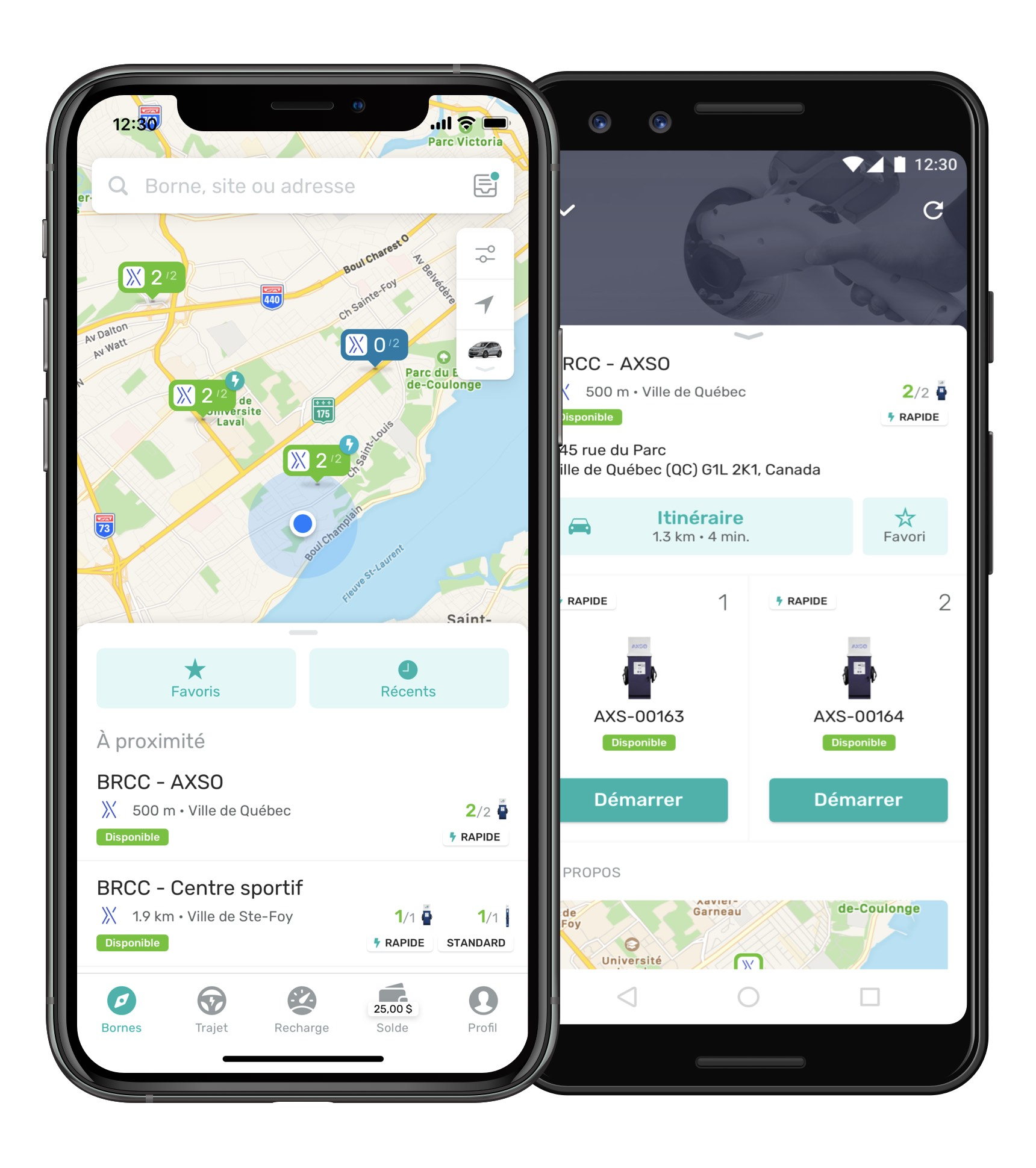 Screenshots of the applications showing charging stations nearby.