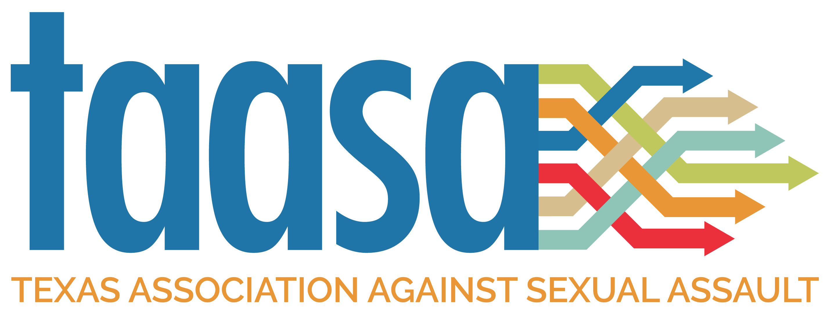 """blue text that spells out t, a, a, s, a with multiple arrows coming out of the 'a'. Below, in orange, it says """"Texas Association Against Sexual Assault"""""""