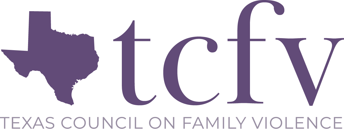 A purple icon of the state of Texas, followed by the letters 't, c, f, v'. Below, in purple, it reads 'Texas Council on Family Violence'