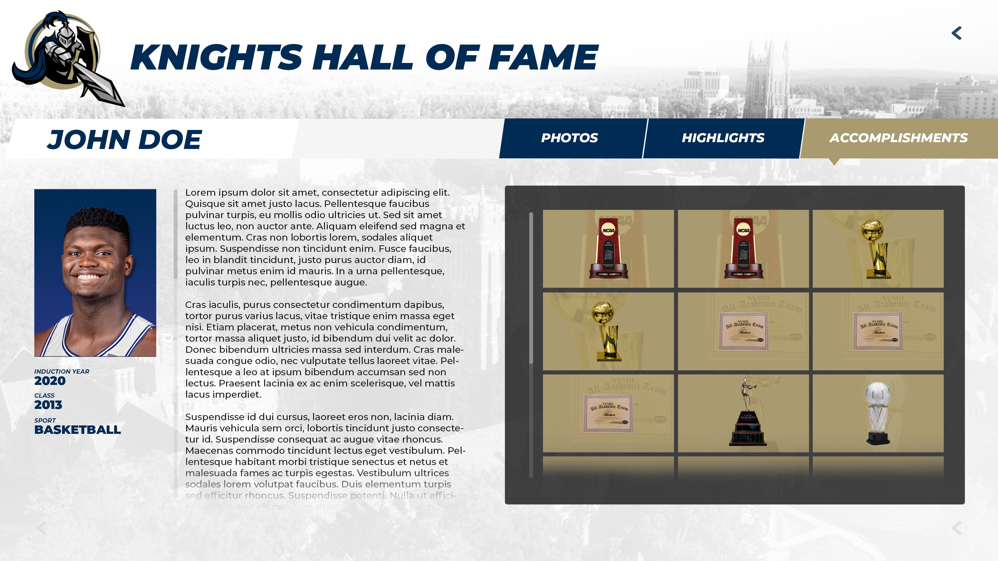 Interactive digital athletic awards