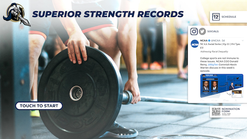 Touchscreen weight room record board and interactive strength records.