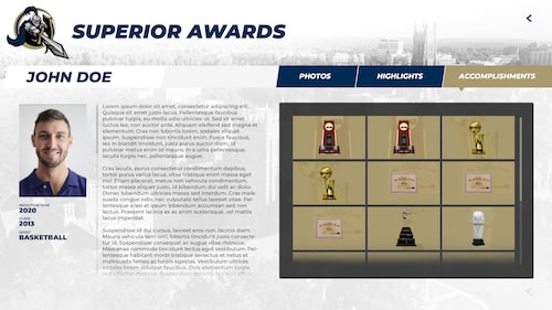 Interactive athletic touchscreen hall of fame for Letterwinners, wall of honor, and all Americans trophy case.
