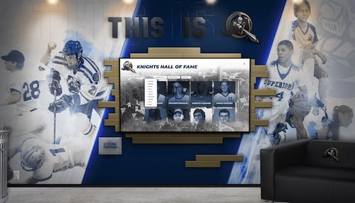Digital Athletic Wall of Honor for athletics, alumni, donors, and distinguished alumni Hall of Fame.