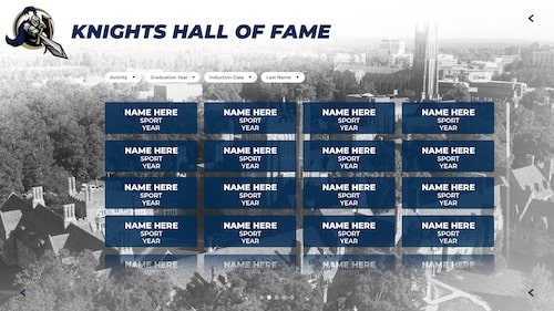 Digital athletic awards trophy case on an interactive touchscreen wall of honor for alumni and athletes.
