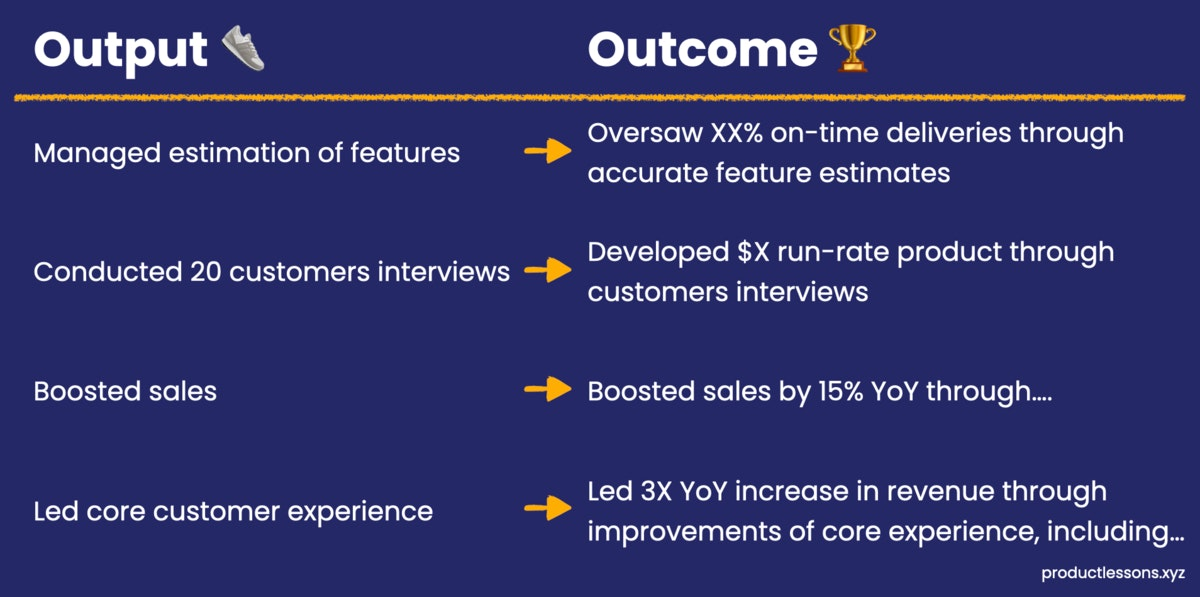 Output vs. outcome examples: turn vague output into specific outcome