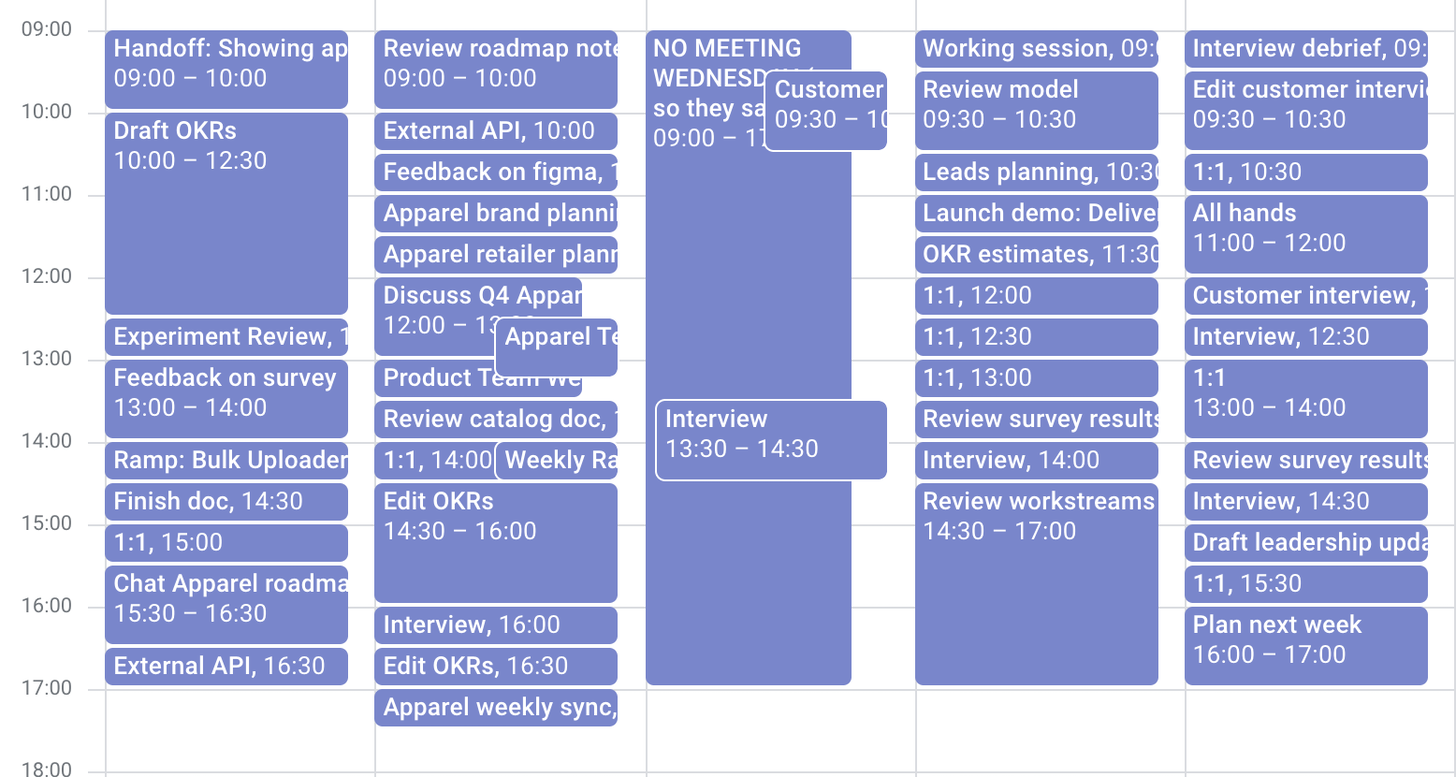 Example of Product Manager calendar