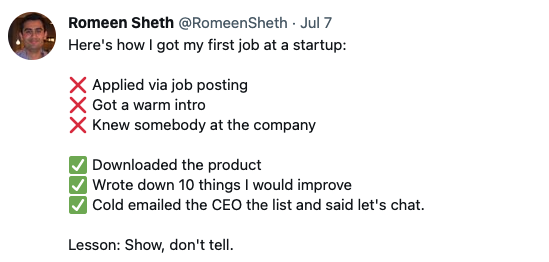 How to get a job at a startup: show, don't tell | Romeen Sheth