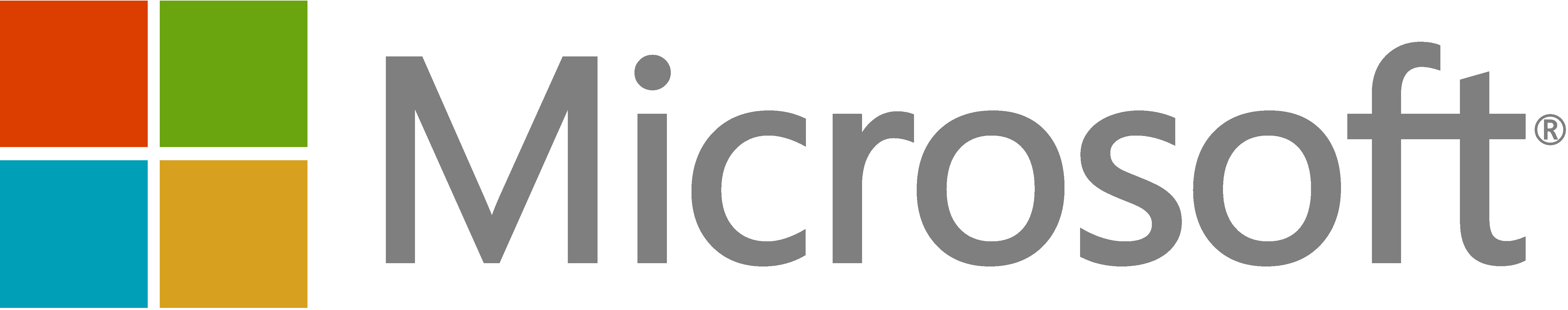 """Microsoft logo with 4 colored squares to the left of """"Microsoft""""."""