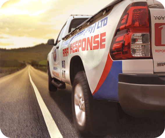 One of Ntamo Technologies Response vehicles, The Vehicle is speeding down the road to its destination.