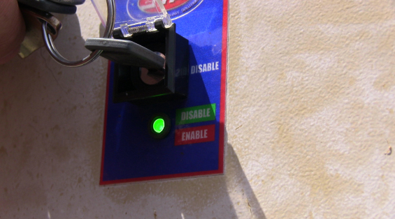 Key Switch Used by Ntamo Employees to enable and disable the pepper gas alarm