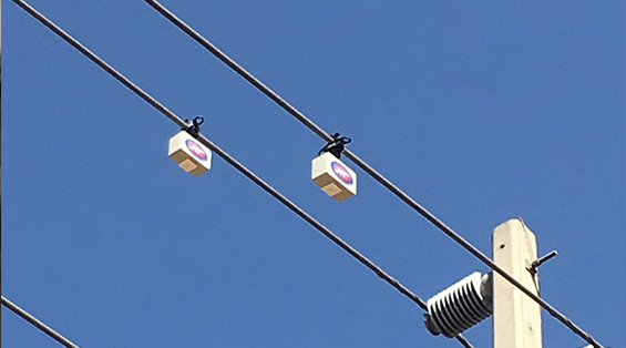 Overhead power lines that are protected by alarms