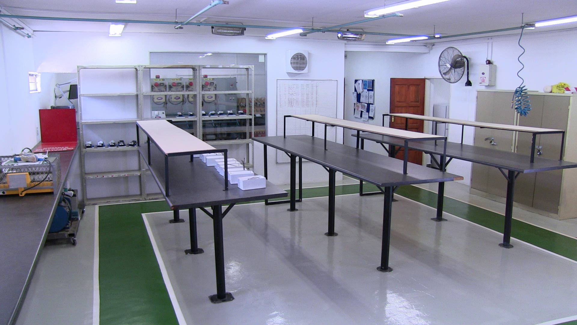 Empty Factory with only a few alarms in manufacturing.