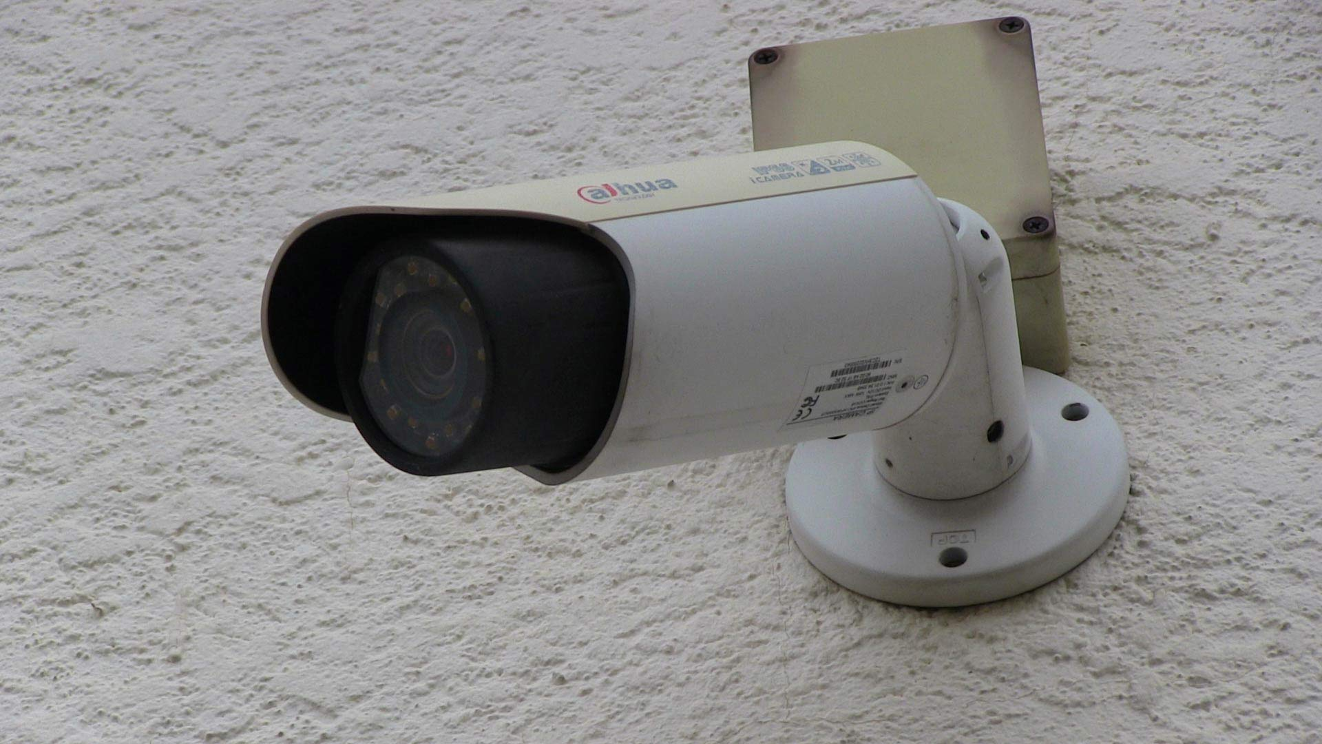 Surveillance Camera on the side of a substation.