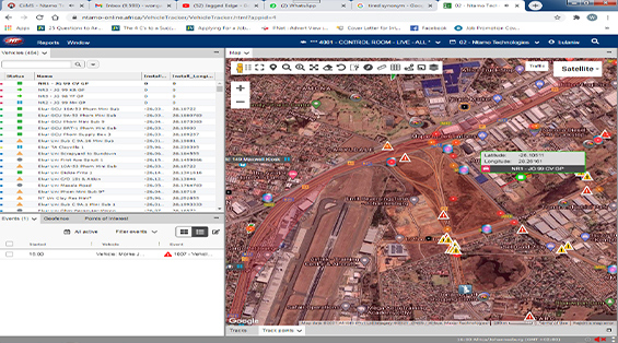 A screenshot that indicates the control room tracks vehicles, alarms, Theft hotspots and alarms being installed.