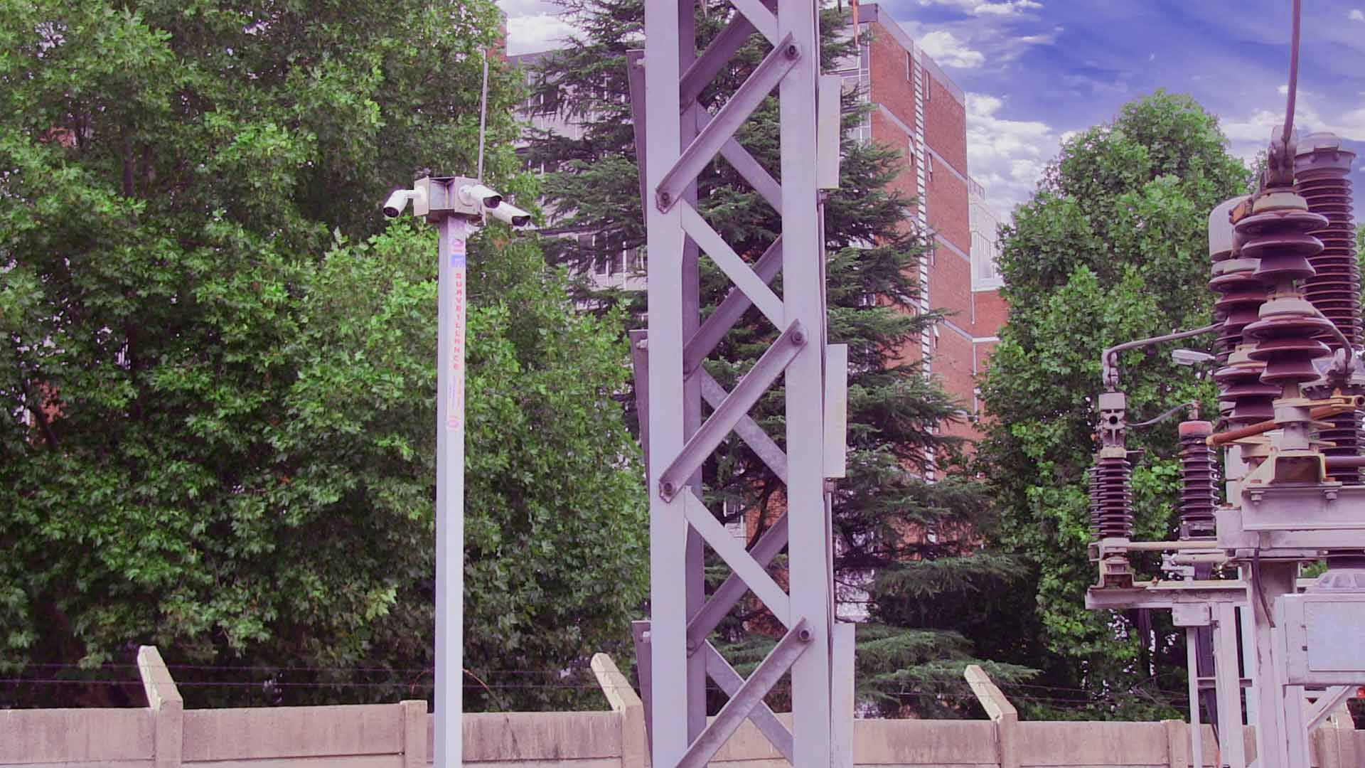 Surveillance camera systems installed inside a Electrical substation yard.