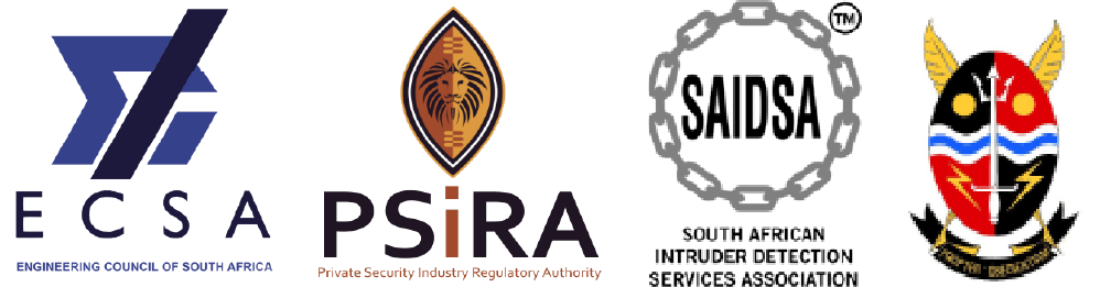 Logo Of ECSA the Engineering Council Of South Africa, PSIRA The Private Security Regulatory Authority, SAIDSA The South African Intruder Detection Services Association, SARPA South African Revenue Protection Association.The company is registered with the Private Security Industry Regulatory Authority (PSIRA) as a service provider and is an accredited corporate company under the South African Intruder Detection Association (SAIDSA) and an affiliate of the South African Revenue Protection Association (SARPA).