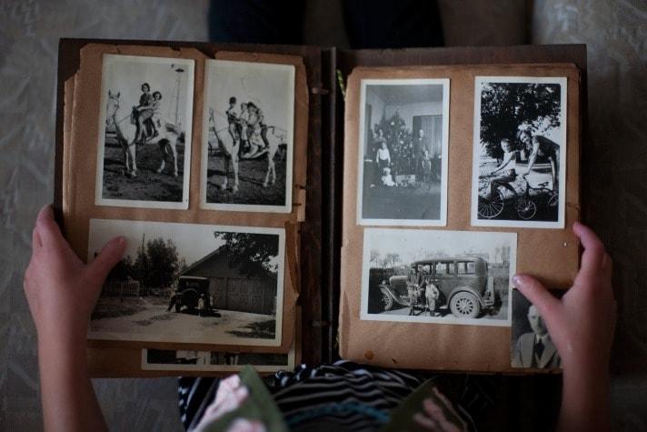 photo album open with black and white photos