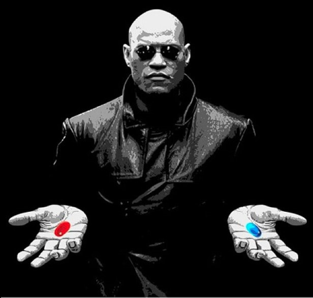 morpheus offering a red pill and a blue pill