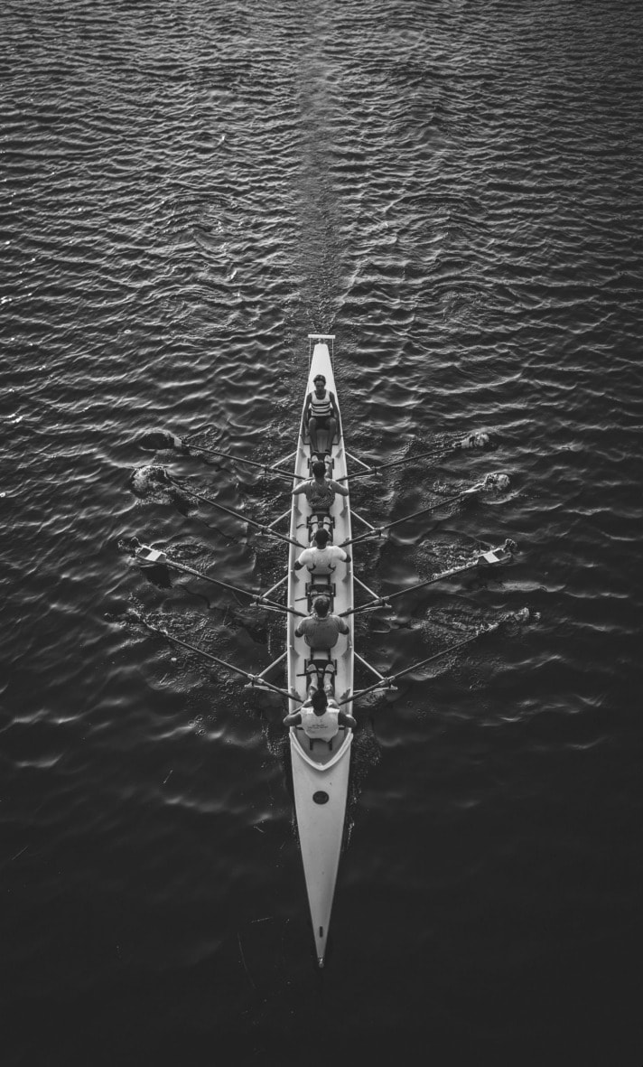 rowing in action