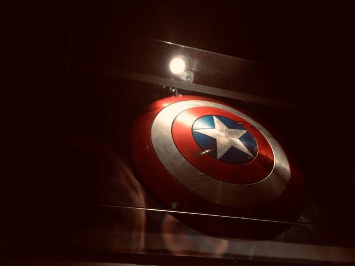 captain america shield in a window