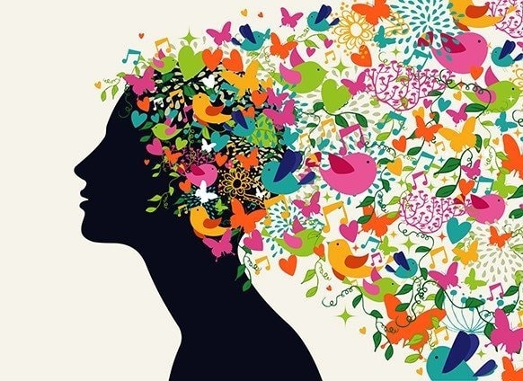 butterflies hearts musical notes of several colors coming out of a person head