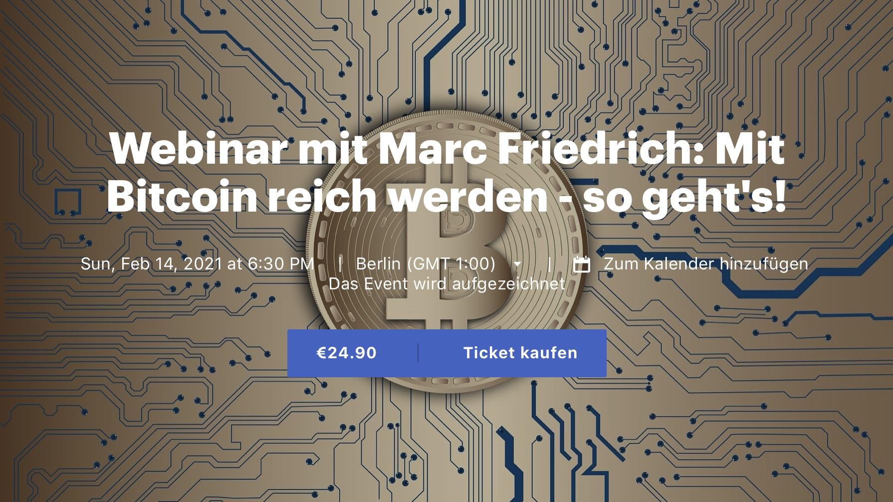 Webinar mit Marc: Mit Bitcoin reich werden - so geht's!