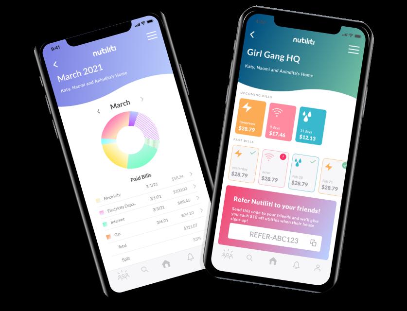 Nutiliti app display - utility management