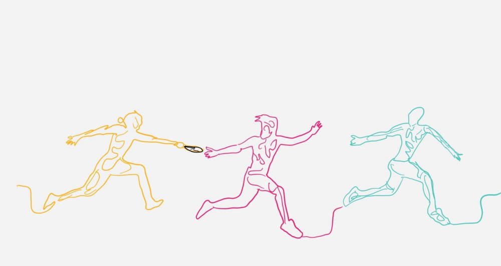 Drawing of 3 people holding hands and skipping